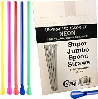 Neon Straws Spoon Party Time 400 Colored Straws for Slushie/Snow cones/Hawiaan shaved ice/Frozen Yogurt assorted box