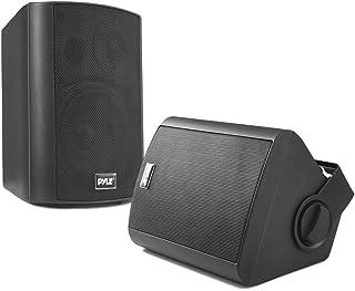 Wall Mount Home Speaker System - Active + Passive Pair Wireless Bluetooth Compatible Indoor / Outdoor Waterproof Weatherpr...