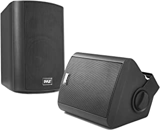 Wall Mount Home Speaker System - Active + Passive Pair Wireless Bluetooth Compatible Indoor / Outdoor Waterproof Weatherproof Stereo Sound Speaker Set with AUX IN - Pyle PDWR52BTBK (Black)