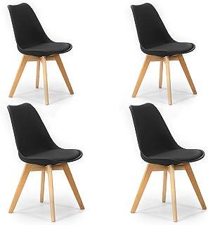 VS Venta-stock Pack 4 sillas Klara Negro Pata Madera y Asiento Acolchado Estilo nórdico