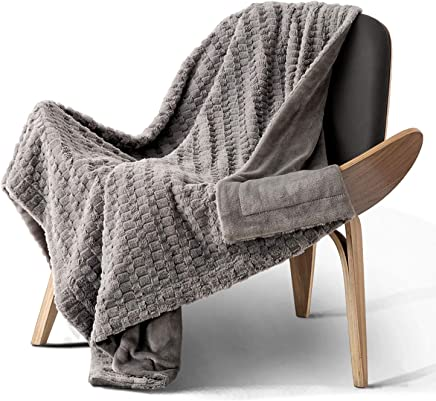 """Bedsure Faux Fur Throw Blanket Fleece Bed Throw 50""""x60"""" Solid Grey, Super Soft & Warm, Reversible with Flannel, Shaggy Fuzzy Blanket"""