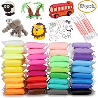 HB HOMEBOAT Modeling Clay Air Dry DIY Ultra Light Molding Clay , Toptops 36 Colors Soft Magic Plasticine Craft Toy with Tools, Best Kids Gift for Any Holiday
