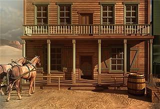 AOFOTO 8x6ft Vintage Western Wood House Backdrop Turkey Farm Horse Tavern Front Door Photography Background Cowboy Wild We...