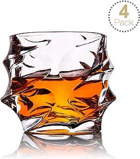 TOPLANET Set de 4 Vasos de Whisky Vaso Whisky Ultra Claridad Vidrio Antiguo sin Plomo con