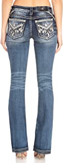 Women's Feather Border Embellished Pocket Bootcut Jeans