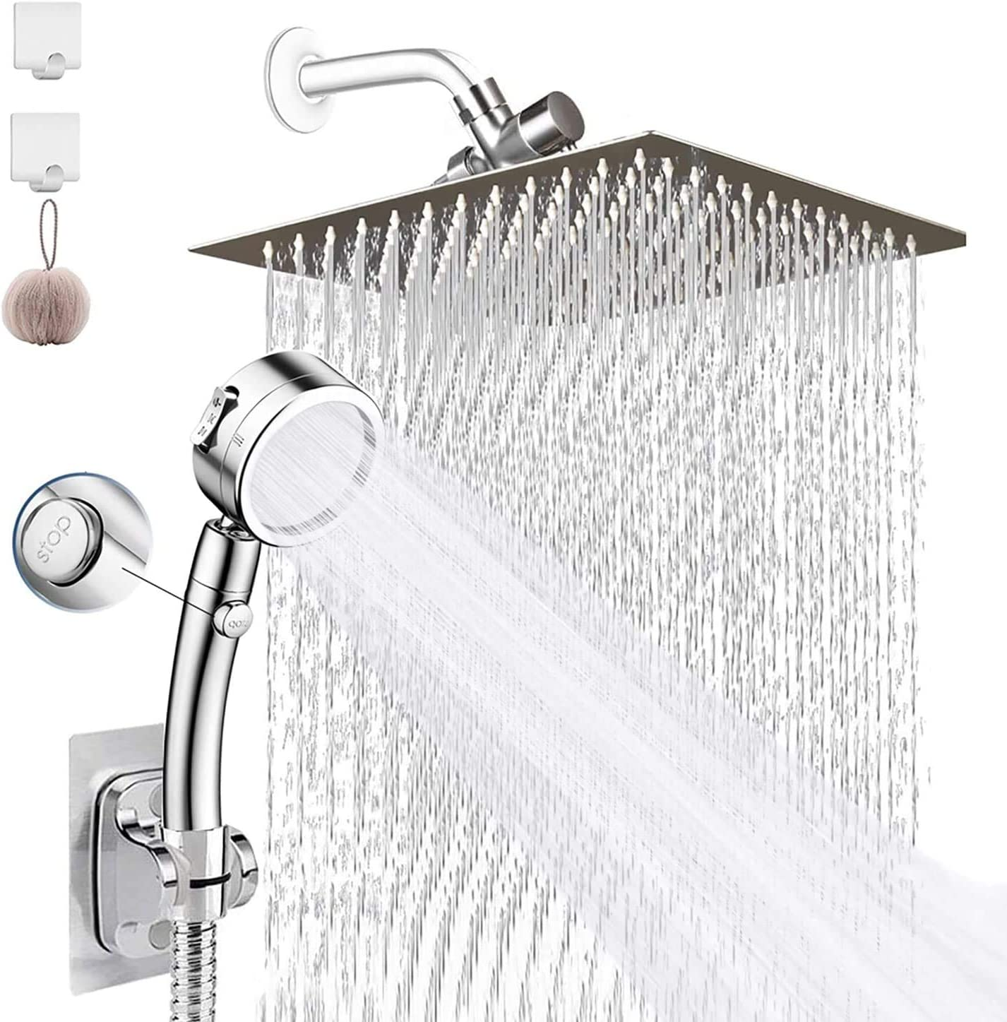Shower New York Mall Head Bellearlly 8'' High Pressure Ste Rainfall Free Shipping New Stainless