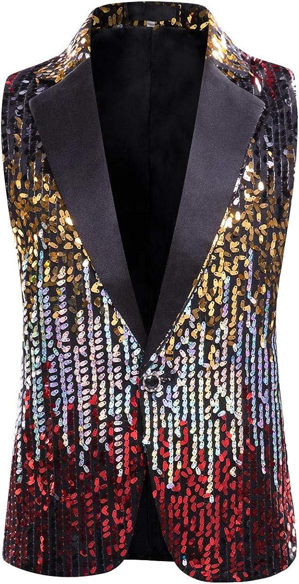 Mens Shiny Sequin Dress Suit Jacket Vest Stylish Party Stage Show Waistcoat