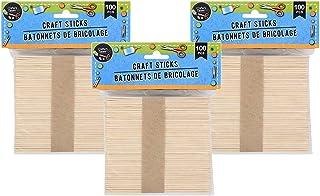 100 Popsicle Sticks, Pack of 100 Natural Wood Crafts Sticks for DIY Fun (300)