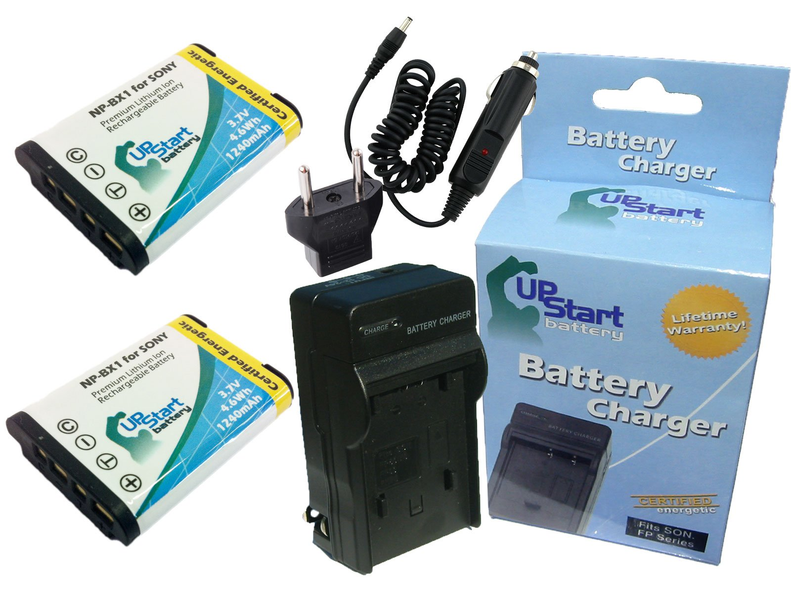 2 Pack - Replacement for Sony DSC-WX300/B Battery + Charger with Car & EU Adapters - Compatible with Sony NP-BX1 Digital Camera Battery and Charger (1240mAh 3.7V Lithium-Ion)
