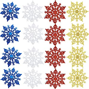 ANLEMIN 10Cm Glitter Artificial Snowflake Christmas Ornaments Xmas Tree Hanging Crafts Ornament for Valentine's Day Birthday DIY Handmade Home Decoration- 48pcs