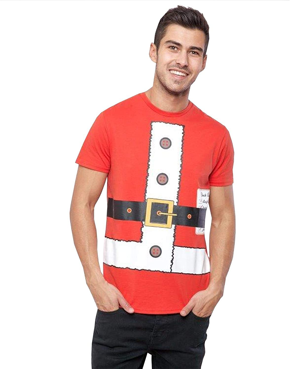 Mens Adults Elf T Shirt Top Novelty Funny Christmas Party Fancy Dress Costume