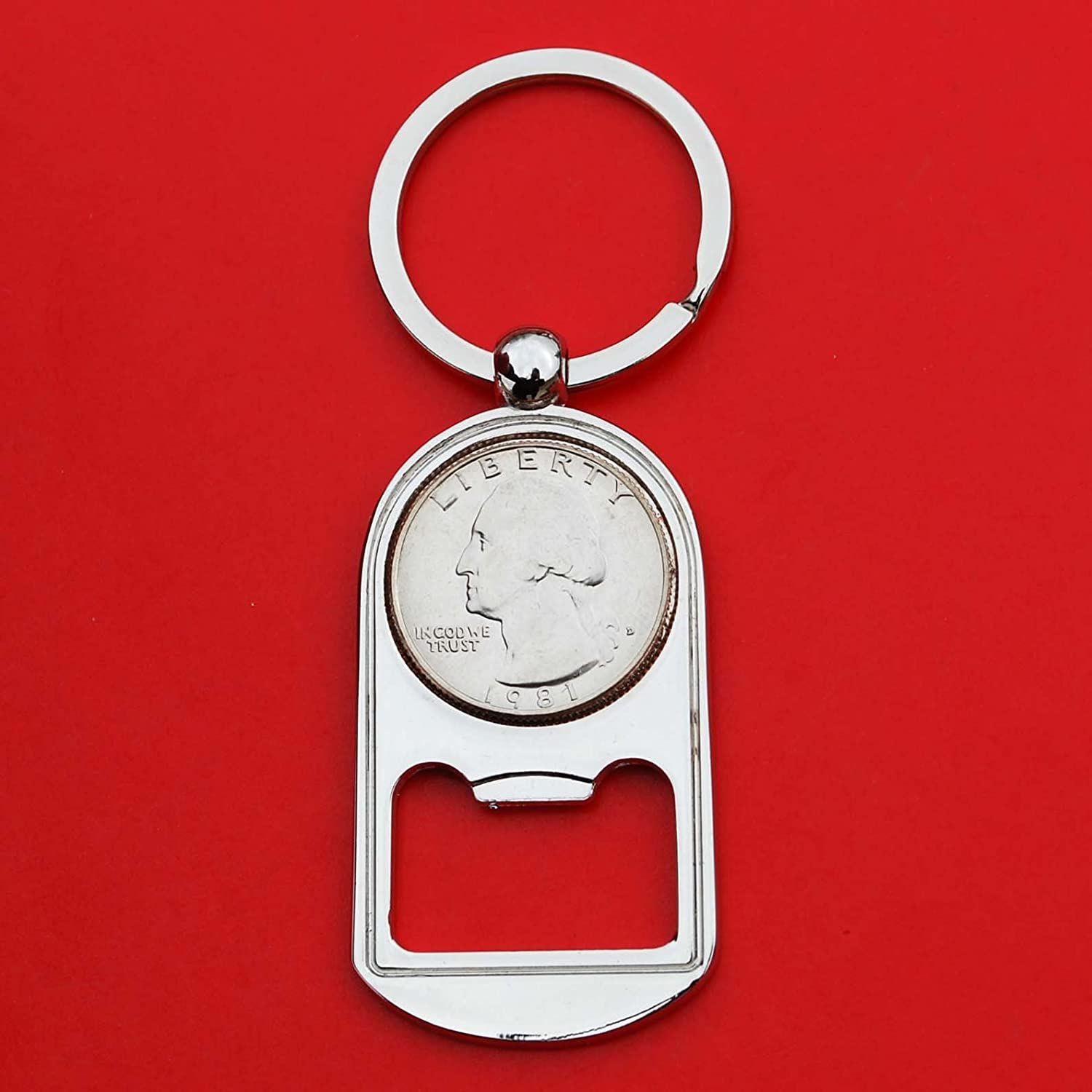 US Beauty products 1981 Washington Quarter BU Directly managed store Uncirculated Key Ring Chain Coin B