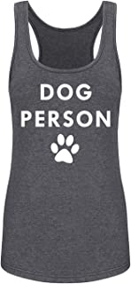 GROWYI Funny Workout Tank Tops Racerback for Women Dog Person Graphic Print Fitness Gym Sleeveless Shirt Grey