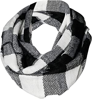 Black & White Buffalo Check Infinity Scarf Funky Monkey Fashion Warm Cozy Scarves