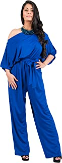 Adelyn & Vivian Plus Size Womens Sexy One Shoulder 3/4 Sleeve Evening Jumpsuit