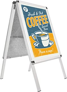 SnapeZo Silver Sidewalk Sign A Board 24x36 Inches, Double-Sided Weather-Resistant Quick Change Snap Frame, 1.25 Inch Profile, Professional Series
