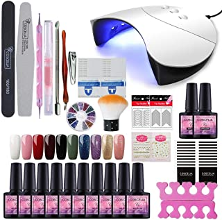 Fashion Zone 10 Colors Gel Nail Polish Starter Kit with 36W UV LED Nail Dryer Light, Base Top Coat Set, Manicure Tools Nail Art for Home DIY or Professional Salon