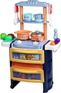 Kitchen Pretend Playset for Kids Double Layer Cute Play Kitchen Set with Realistic Sounds and Light, Pretend Cookware ,Toy...