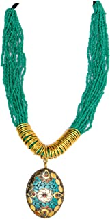 Crunchy Fashion Bollywood Traditional Indian/Bohemian Style Afgani Boho Gypsy Tribal Handmade Green Beaded Jewelry Necklac...