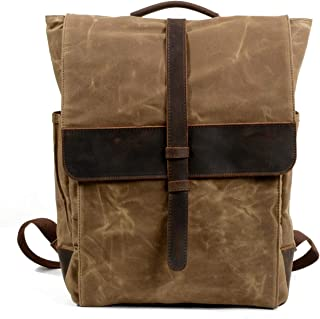 Waterproof Waxed Canvas Hiking Backpack Large-Capacity Casual Fashion Backpack (Color : Brown, Size : 30 * 10.5 * 40)