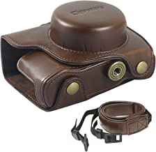 Clanmou EM10 Mark II Protective Camera Bag Compatible Olympus OM-D E-M10 M2(14-42mm) Leather Camera Case Cover with Camera Shoulder Strap Coffee