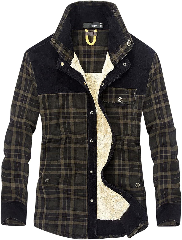 FORUU Plaid Flannel Jacket 2021,Winter Jacket For Men Warm Lapel Pocket Cotton Padded Loose Coat Plus Size Jacket