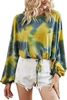Chigant Women's Tie Dye Long Sleeve Tops Casual Pullover Shirts Loose Sweatshirts S-XL