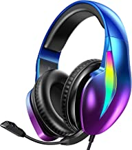 PeohZarr Gaming Headset Xbox One Headset PS4 Headset PS5 Headset, Flowing Aurora Lights Rainbow RGB Super Comfy Earmuffs, ...