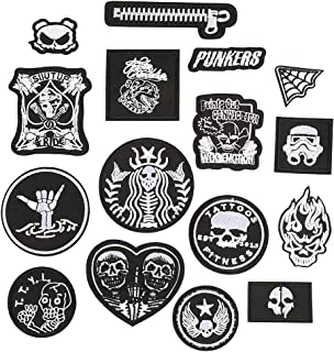 Daimay 16 PCS Iron on Patches Embroidered Appliques Black and White Embroidered Patch Stickers for Decorating Clothing, Backpack, Caps, Jeans, Shoes, Jacket, Handbag etc