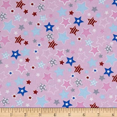 Mook Fabrics Fox/Sheep/Bear Flannel Star Fabric, Pink, Fabric By The Yard