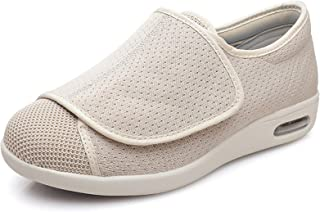 RTY Diabetic Orthopedic Men's Easy Close Wide-Fitting Touch Close Bar-strap Shoe Slipper,Beige,50