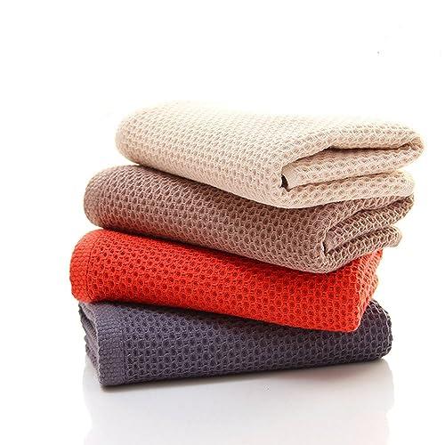 9f02840946 CHRISLZ 4-pack Asciugamani in cotone 100% Asciugamano di puro colore  Washcloth a forma
