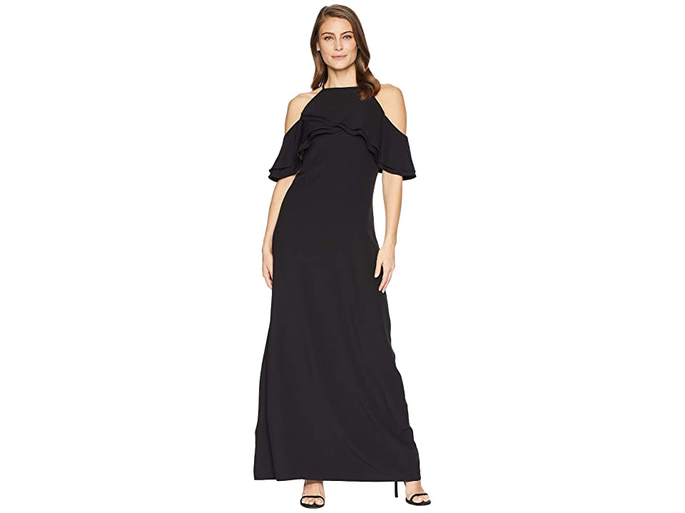 MARINA Long Halter Cold Shoulder Dress with Spaghetti Straps and Ruffle At Top Bodice (Black) Women