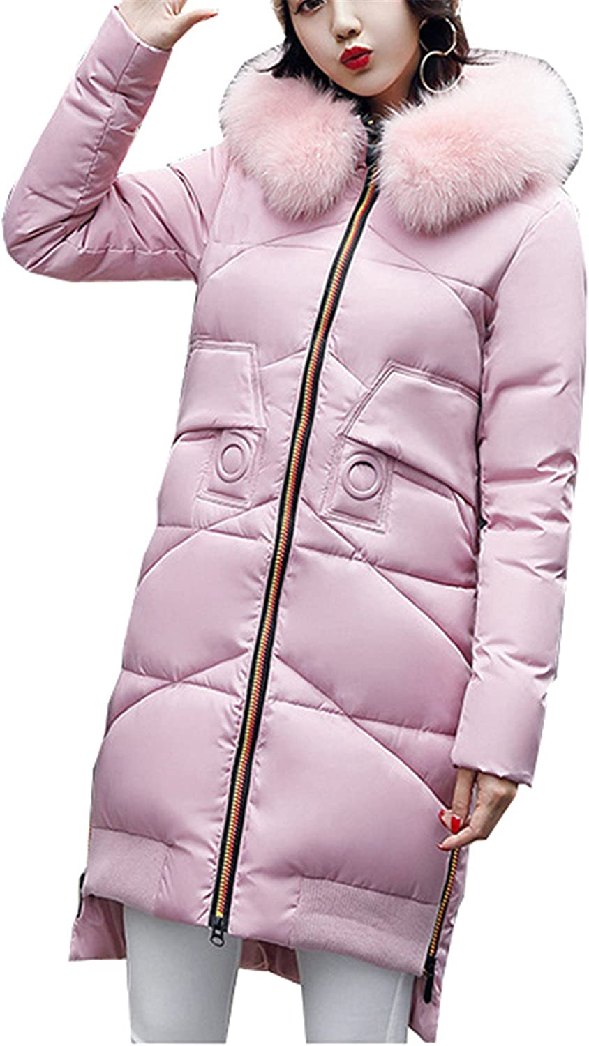 Allonly Women's Hooded Cotton Parka Long Down Coat with Faux Fur Collar
