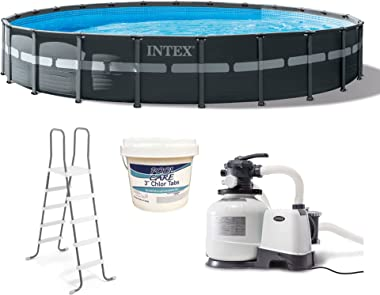 Intex 26339EH 24ft X 52in Ultra XTR Pool Set with Sand Filter Pump, Ladder, Ground Cloth, Chlorine Tablets, & Pool Cover