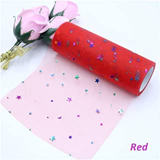 10Yard 15cm Glitter Tulle Roll Wedding Decoration Craft Tulle Fabric Dress DIY Organza Baby Shower Party Supplies,Red,15cm X 10Yards