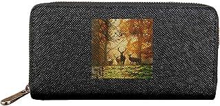 森の中の鹿 長財布 大容量 小銭入れ ジッパー財布 メンズ レディー 財布