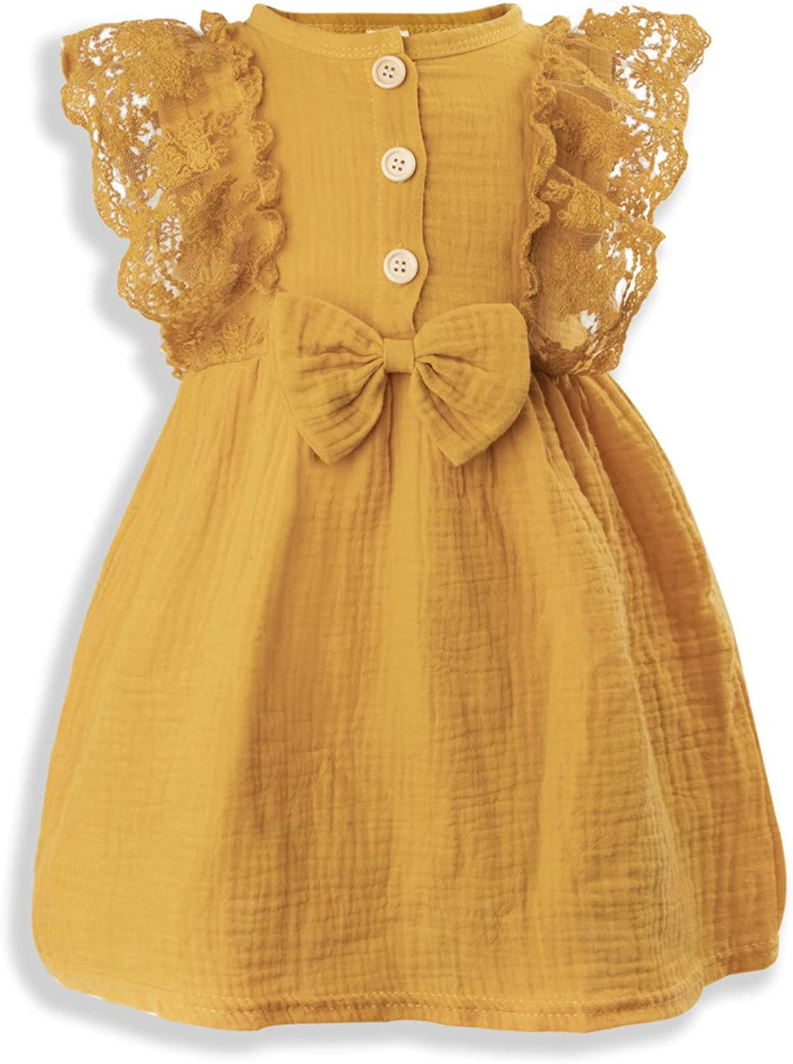 Toddler Baby Girl Clothes Summer Dress Lace Ruffle Sleeveless Bow Cotton Comfortable Cute Kids Dress Sundress Outfits