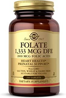 Solgar Folate 1,333 MCG Dietary Folate Equivalent (800 mcg Folic Acid), 250 Tablets - Heart Health, Healthy Nervous System...