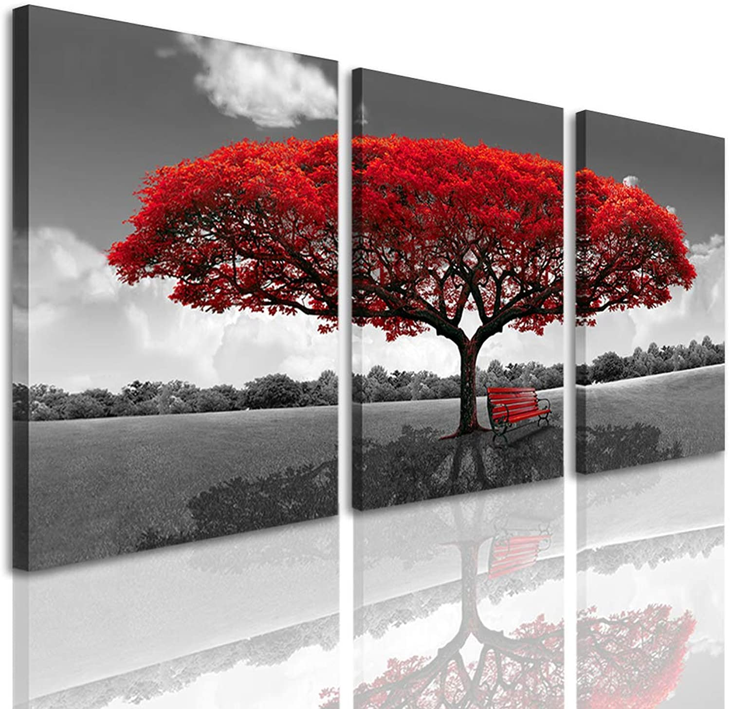 Amosi Art 3 Panels rot rot rot Tree Canvas Prints Wall Art Landscape Framed Art Modern Home Living Room Decoration 20inx28in B071KPDM3J 46a234
