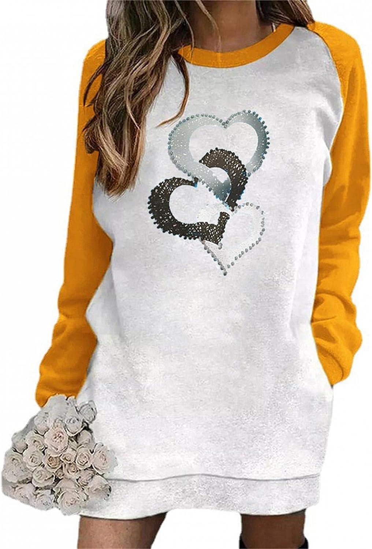 SUIQU Sweatshirt Dress Women Long Sleeve Round Neck Mini Dresses with Pocket Basic Dresses Color Block Pullover Tops