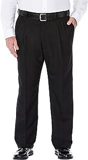 بنطلون رجالي كبير وطويل رائع 18 مصنوع من قماش الغبرديني الخفي قابل للتوسيع ذو طيات أمامية