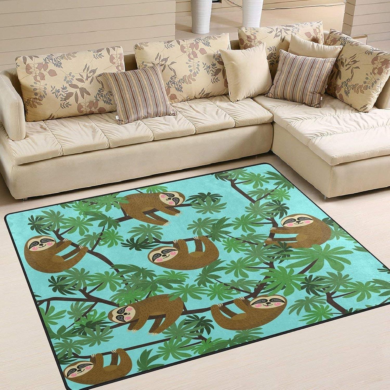 Palm Tree Cute Sloth bluee for Floor Mat Rug Indoor Front Door Kitchen and Living Room Bedroom Mats Rubber Non Slip