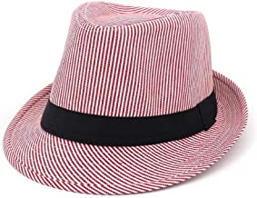 2019 Women Womens Wild Jazz Hat Visor Fedora Hat for Women Youth Fashion Male Hat Women Couple Striped Fashion Hipster Travel Outdoor Vacation Sunscreen (Color : Pink, Size : 56-58CM)