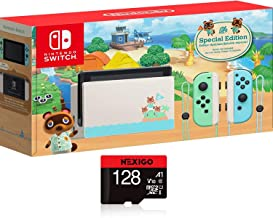 """Nintendo Switch with Green and Blue Joy-Con - Animal Crossing: New Horizons Edition - 6.2"""" Touchscreen LCD Display, 802.11..."""