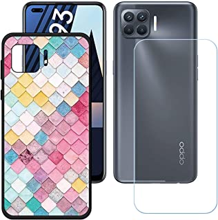 YZKJ Case for Oppo A93 Cover + Screen Protector Tempered Glass Protective Film - Soft Gel Black TPU Silicone Protection Ca...