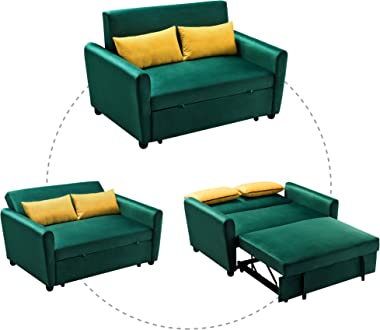 Merax Velvet Sofa Set Convertible Sleeper Sofa Bed Loveseat Couch with 2 Pillows Detachable Armrest for Living Room Small Spa