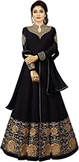 Ethnic Yard Womens Georgette Anarkali Embroidered Semi Stitched Salwar Suit