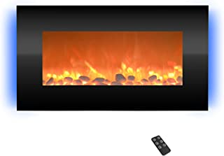 HOME Electric Fireplace- Wall Mounted with 13 Backlight Colors Adjustable Heat and Remote Control-31 inch by Northwest (Black), 31