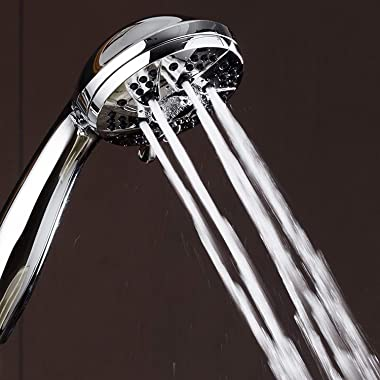 """AquaDance High Pressure 6-Setting 3.5"""" Chrome Face Handheld Shower with Hose for the Ultimate Shower Experience! Official"""